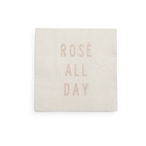 """Rose All Day"" Paper Cocktail Napkins (54 NOK) ❤ liked on Polyvore featuring home, kitchen & dining, table linens, paper dinner napkins, paper cocktail napkins, dinner napkins, paper napkins and paper table napkins"