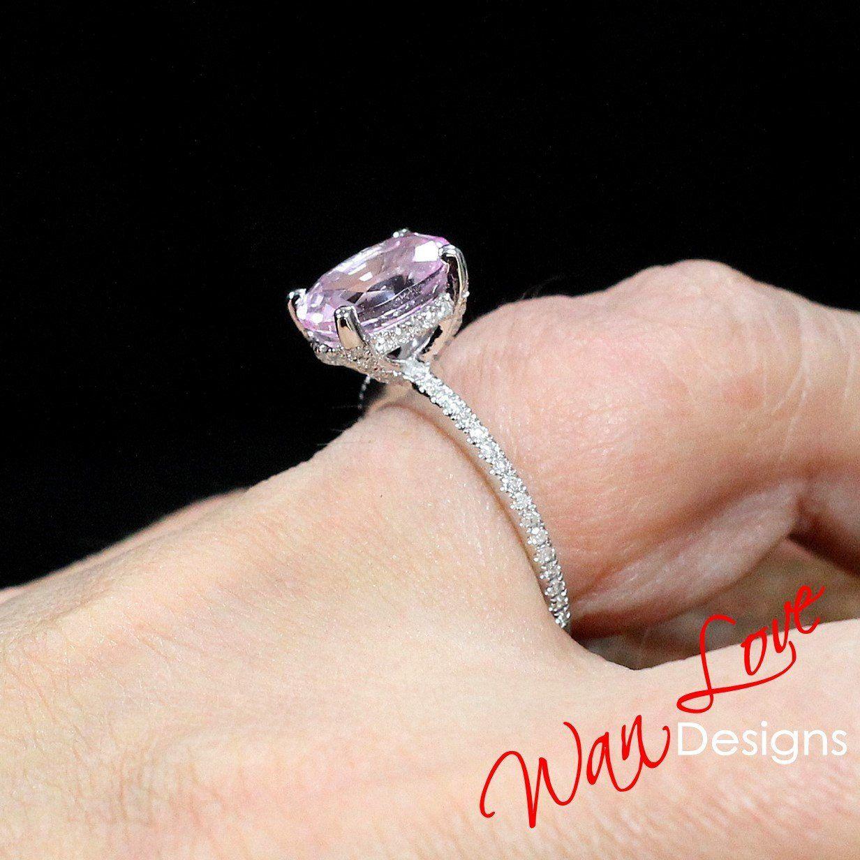 Peach Champagne Sapphire Elongated Cushion Engagement Ring