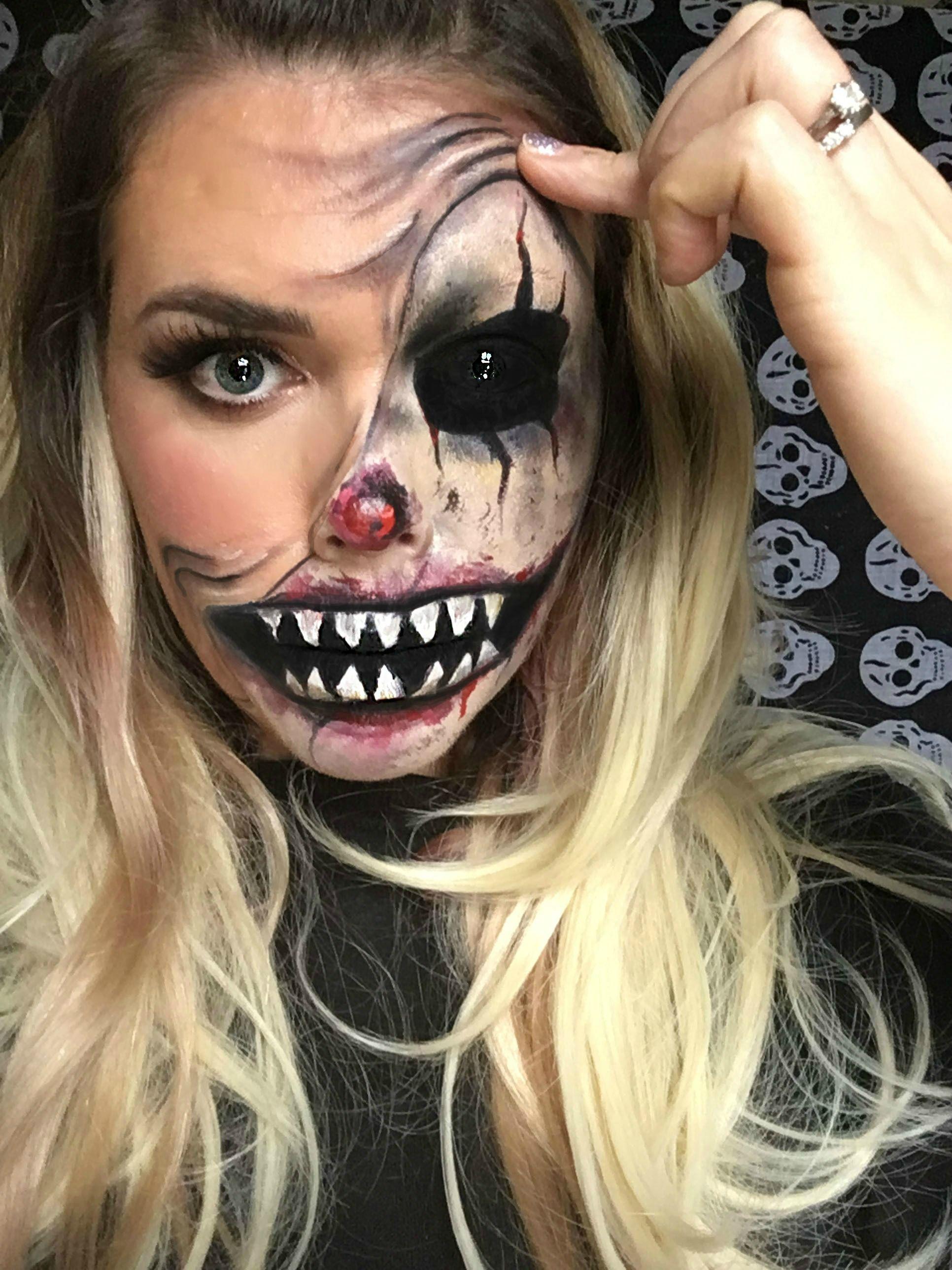 Halloween Makeup Ideas 2019 Scary.Scary Half Clown Makeup Facepaint In 2019 Halloween