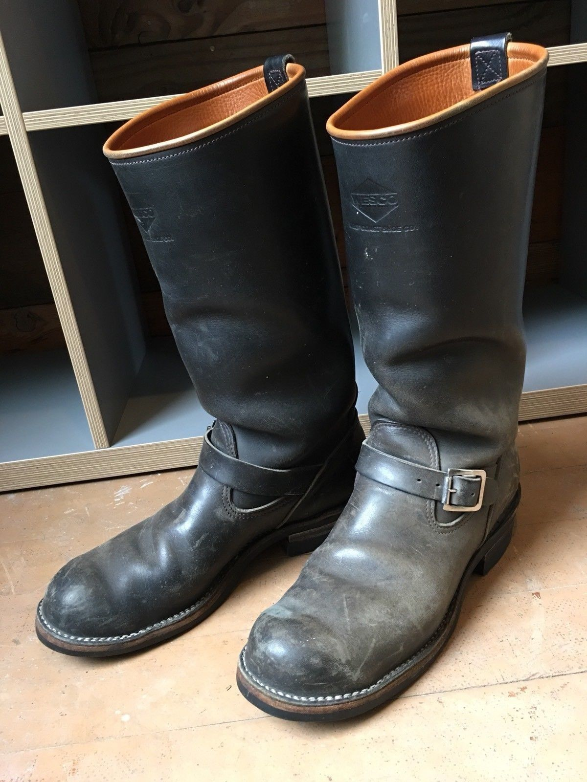 Toilettenbürste Tier Wesco Buckskin Lined Boss Boots Great Worn Condition Ebay
