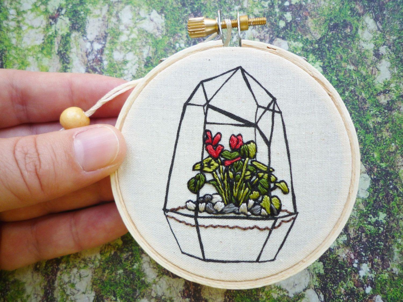 Modern Embroidery 'Terrarium 1' 3 inch Hoop Art (35.00 USD) by CheeseBeforeBedtime