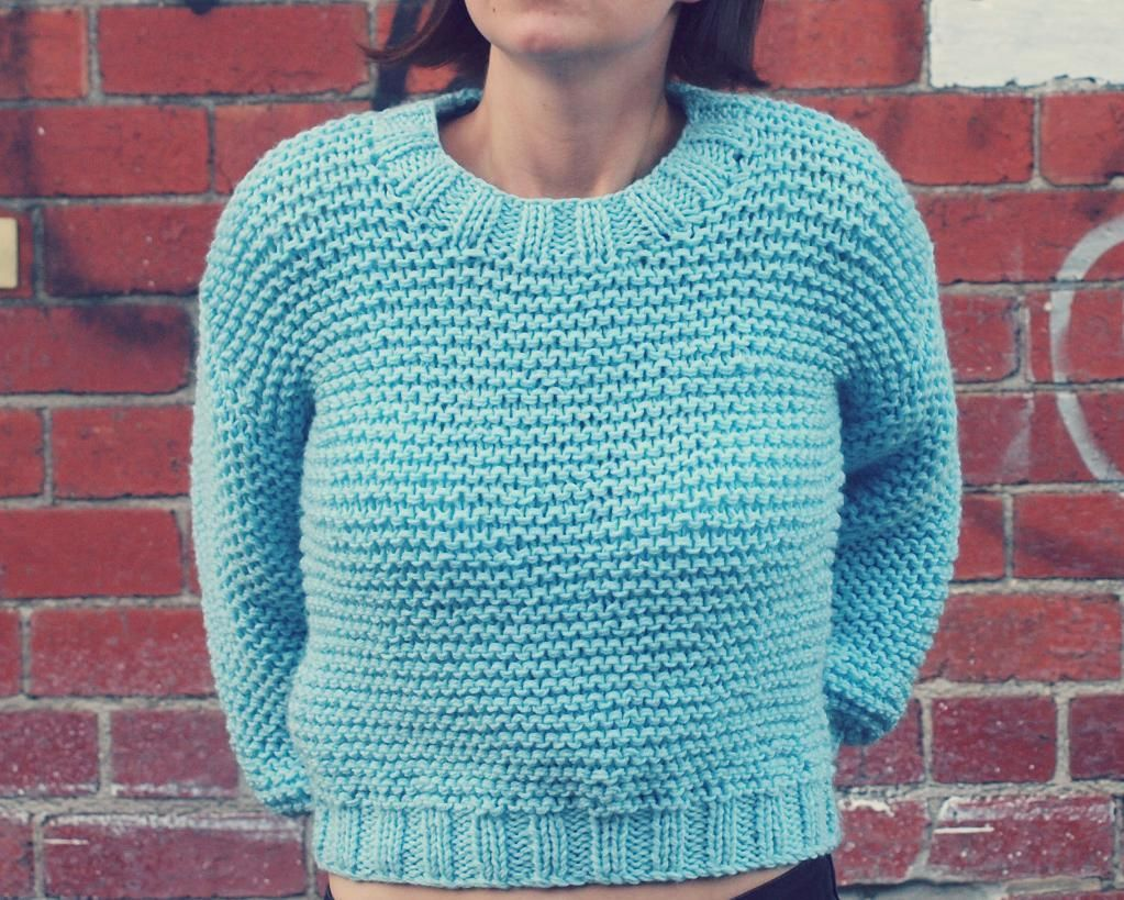 Super Chunky Easy Knit Midriff Sweater | Sweater knitting patterns ...
