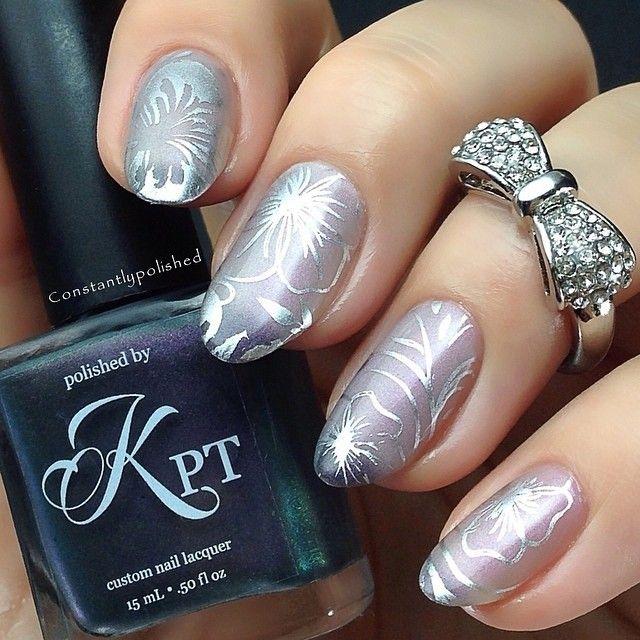 Beautiful silver floral nails #nail #nails #nailart