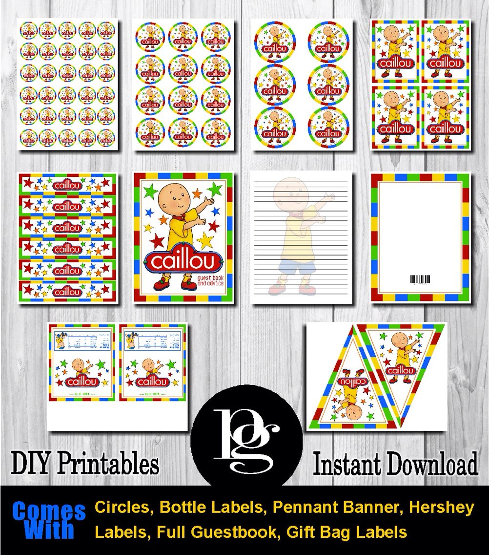 Caillou Printable Party Kit - DIY - $14.95 matchmypartytheme.com ...