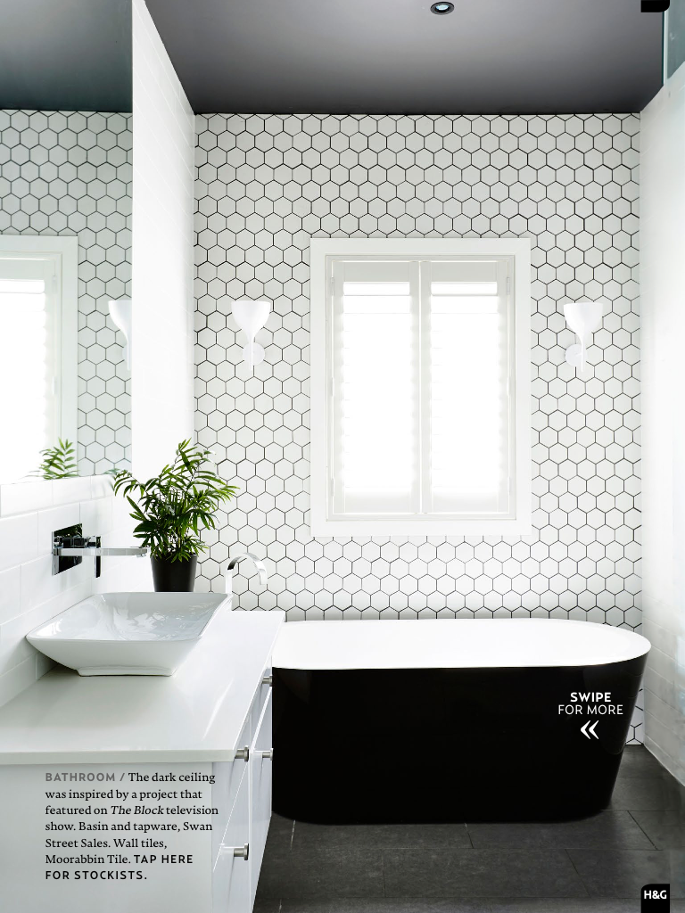 Love the white tile and dark grout Perfect for North wall of main ...