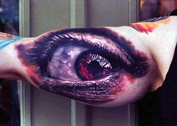 Tatuaz Oko 3d Na Bicepsie Tattoos Tatuaże 3d Fajne