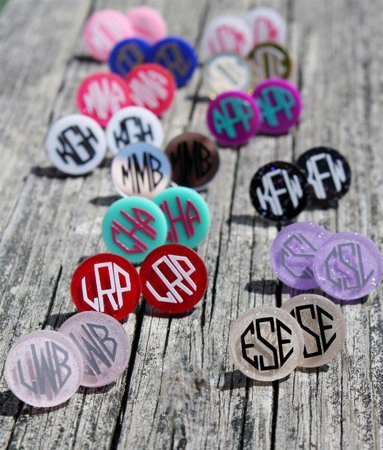 Monogram Glitter Earrings Create Your Own Monogram Jewelry Monogram Earrings Vinyl Monogram