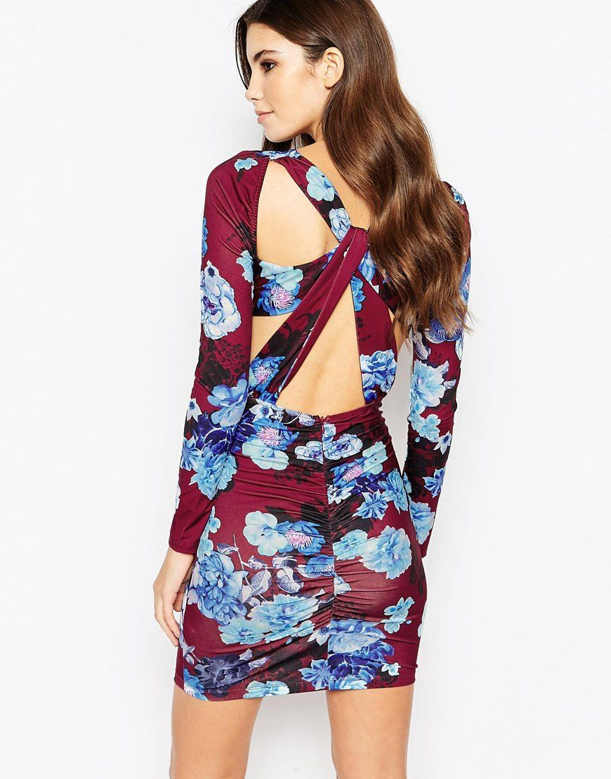 Ginger Fizz Plunge Ruched Bodycon Dress With Cut Out Back In Floral ...