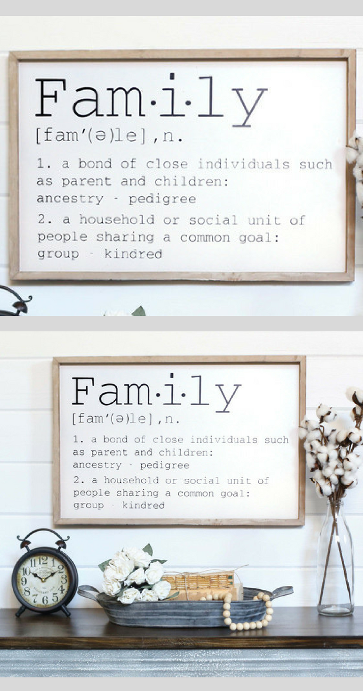 Family definition sign, Family decor, home decor, gallery wall decor ...
