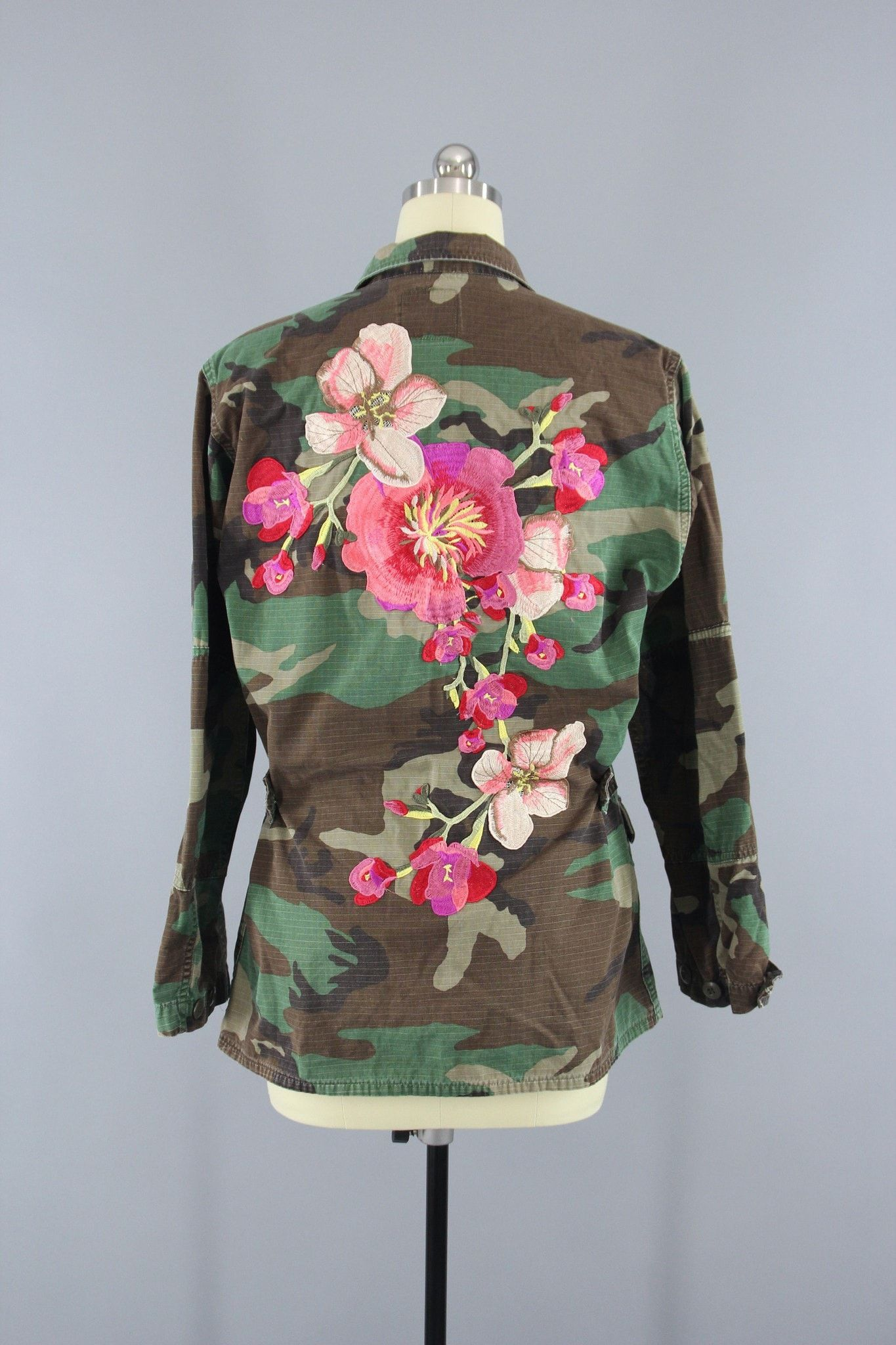 ebfda41fd51a0 Vintage Army Camouflage Military Jacket with Large Peach Pink Floral  Embroidery