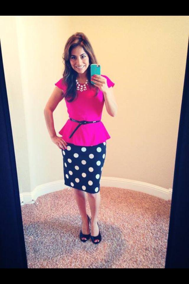 Polka dot skirt, pink peplum top. Modest fashion