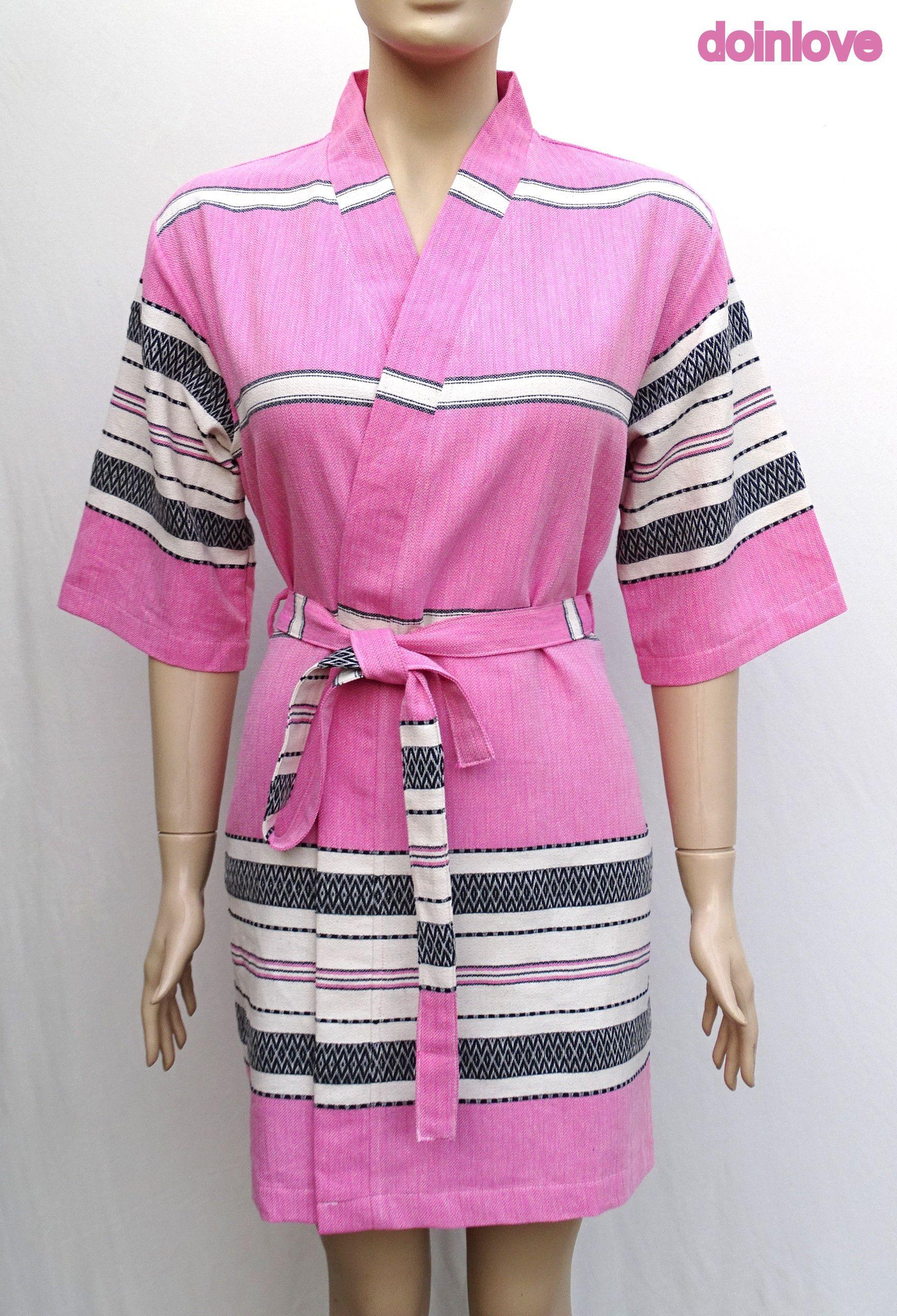Women s medium size pink colour soft cotton lightweight kimono bathrobe 17f421ac0