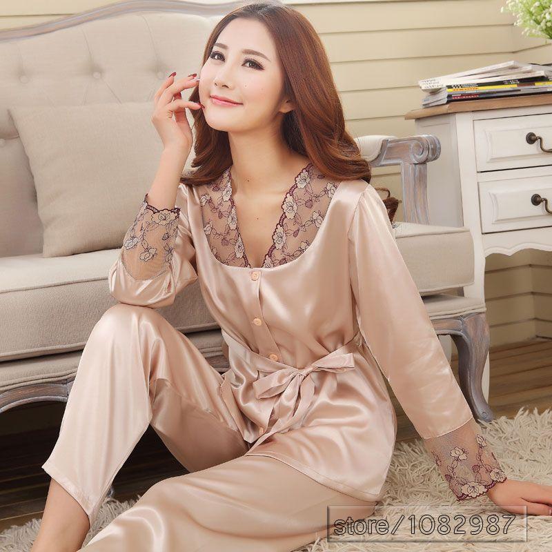 wholesale 2016 Spring Summer Autumn Silk Women Pajamas Sets of Sleepshirt   Sleep  Shorts Lady Nightdress Female Home Clothes Plus Size ... 18c99b03a