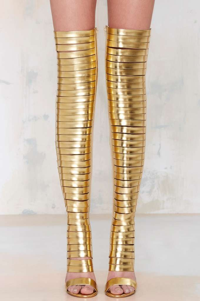 Gold Thigh High Boots Quot Out Of This World Quot Heels Feature