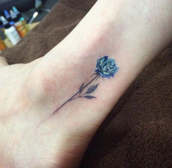 Tattooblend Com Wp Content Uploads 2016 04 Tiny Blue Rose Tattoo Jpg X26891 Small Rose Tattoo Rose Tattoos For Women Tiny Rose Tattoos