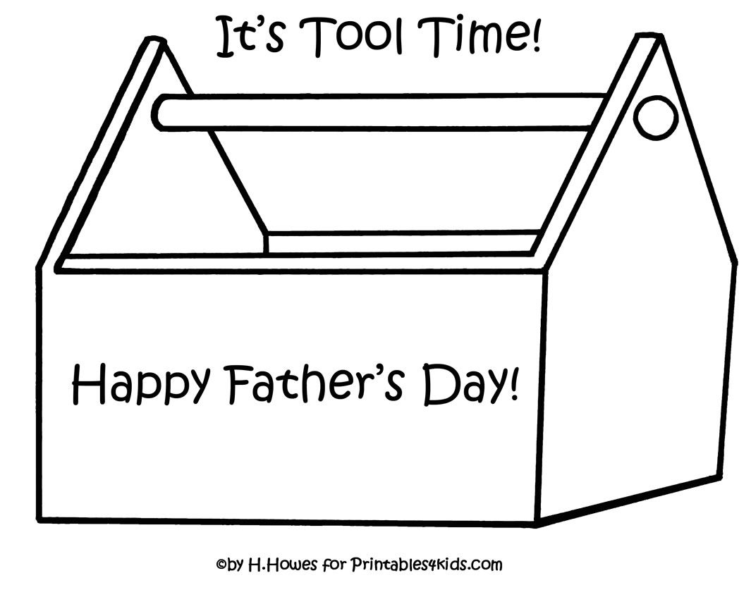 Print And Color Toolbox For Father S Day Gift Or Card Father S Day Printable Fathers Day Coloring Page Father S Day Activities