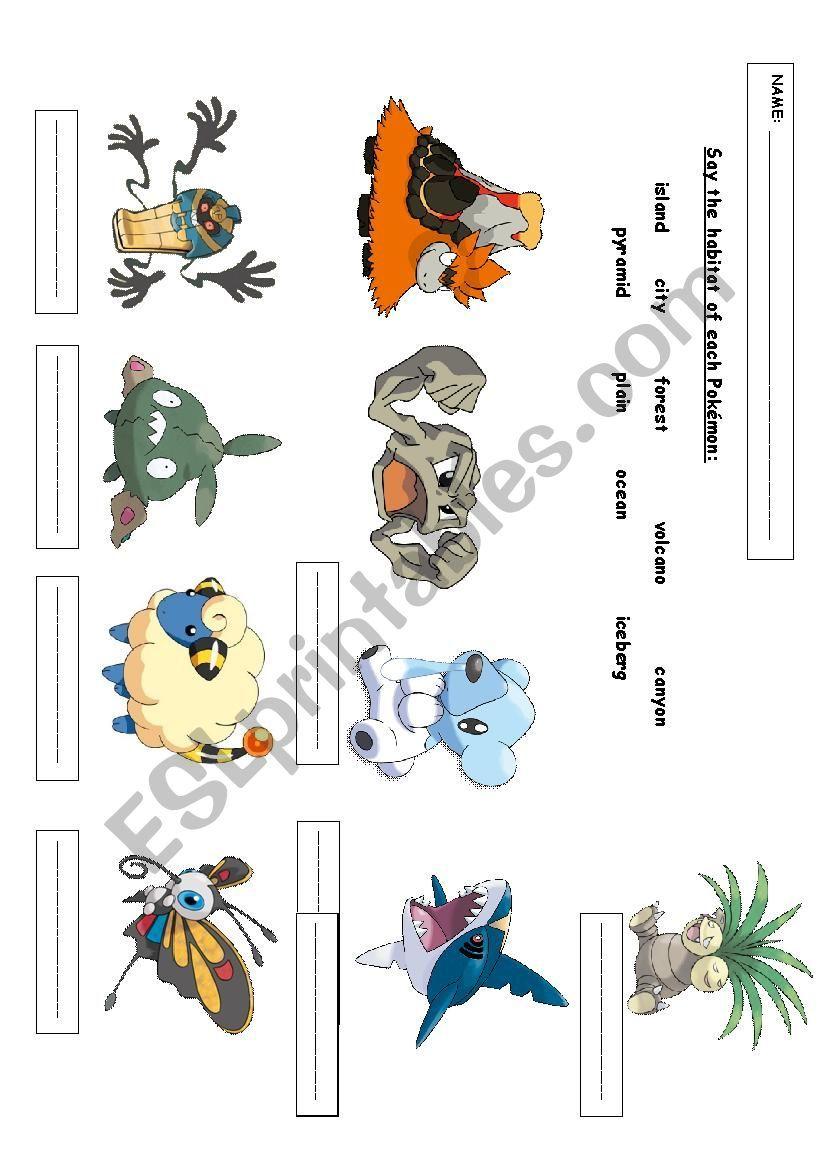 Choose The Habitat Of Each Pokemon Esl Worksheet By Nephilim666 Pokemon Exercise For Kids Vocabulary Skills [ 1169 x 826 Pixel ]