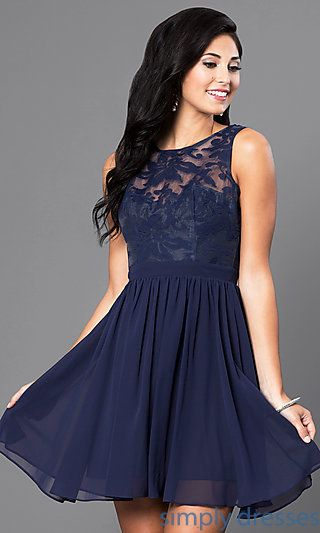 Shop sleeveless lace-bodice homecoming dresses at Simply Dresses. Semi- formal… 4ac66e559