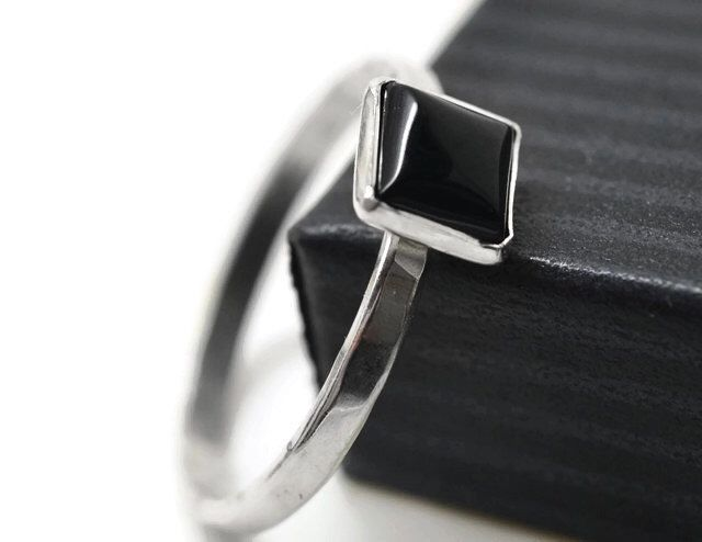 Large raw onyx ring natural square onyx ring very large genuine natural onyx ring statement onyx ring black onyx solitaire ring