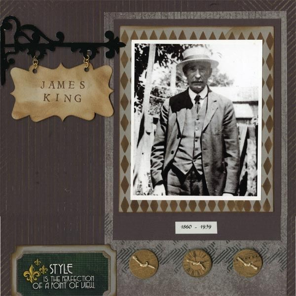 Heritage page, James King, on papers from Club Scrap