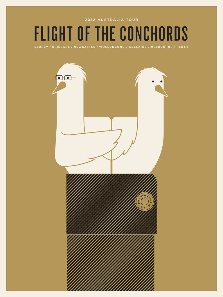 Flight of the Conchords poster by Jason Munn (2012)