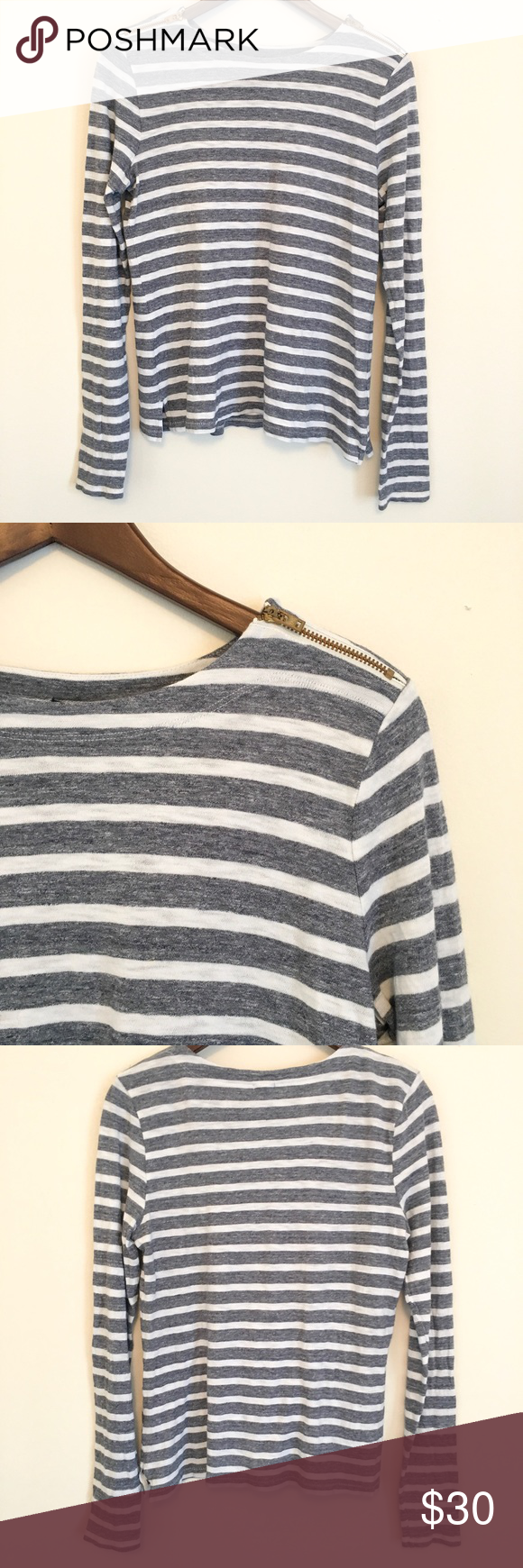 """J. Crew Gray & White Blouse J. Crew Gray and White Blouse with Zippered Sleeves  Size medium, in great condition  100% Cotton #B203 Approximate Measurements Bust 17 3/4"""", shoulders 15 1/2"""", length 23"""", sleeves 24 1/4"""" J. Crew Tops Blouses"""