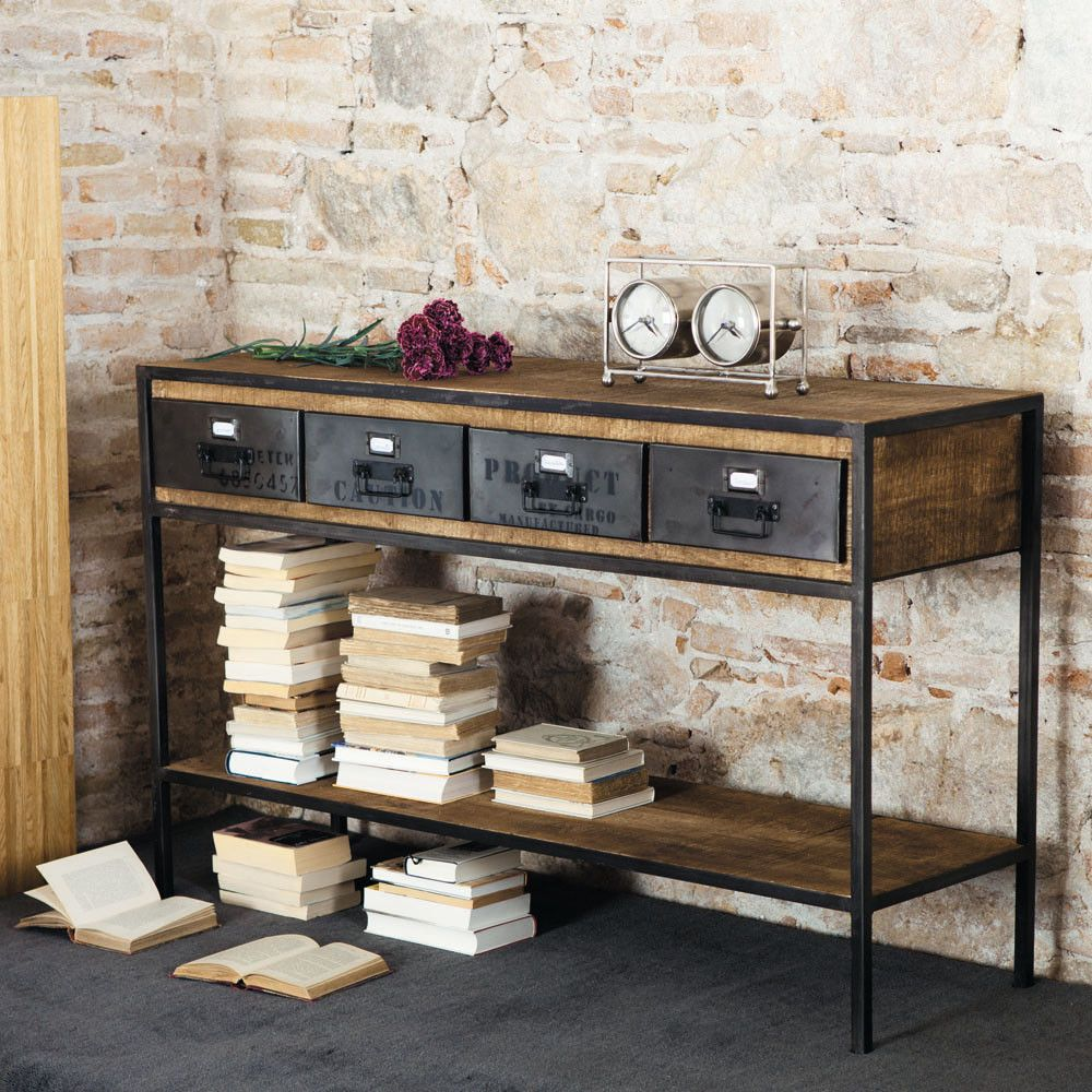 konsole im industrial stil aus schwarzem metall und massivem mangoholz industrial console. Black Bedroom Furniture Sets. Home Design Ideas