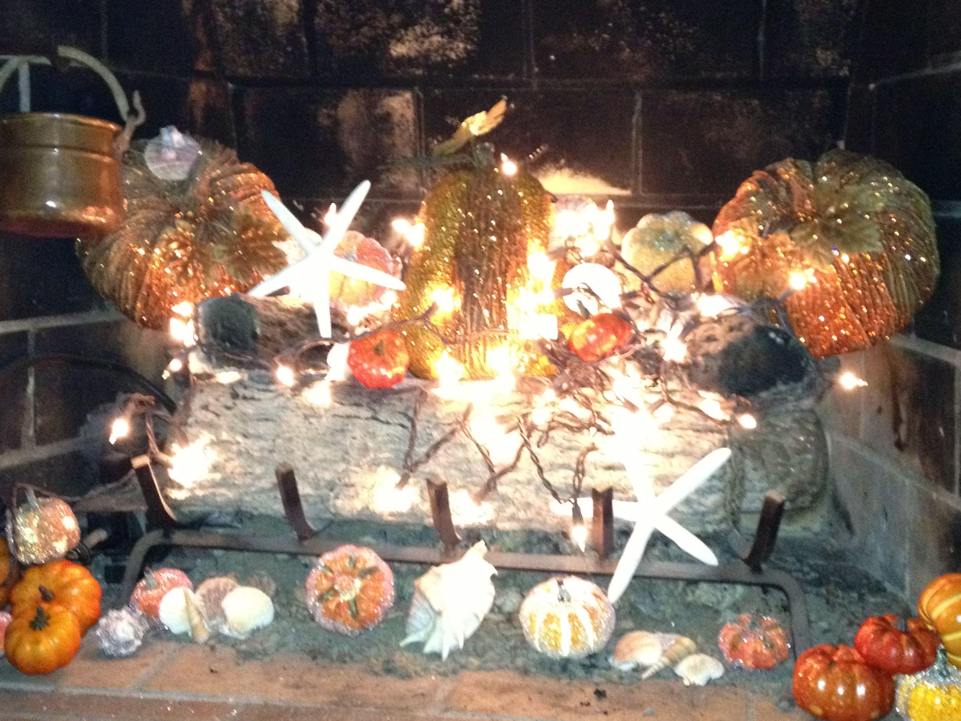 Beach inspired pumpkin / fall fireplace decor | Autumn at ...