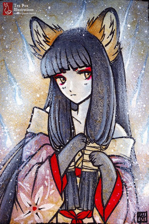Willowisps Kitsune Fox Girl Yokai By Teafoxillustrations 6 00 Fox Art Fox Illustration Cute Art