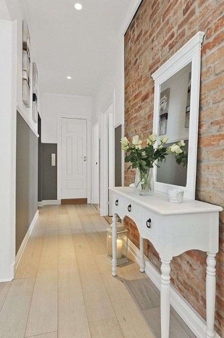 Stunning entryway with exposed brick. Beautiful. | Foyer | Pinterest
