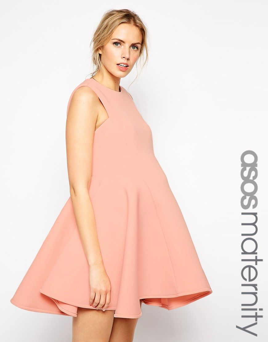 ASOS+Maternity+Premium+Bonded+Fit+and+Flare+Dress
