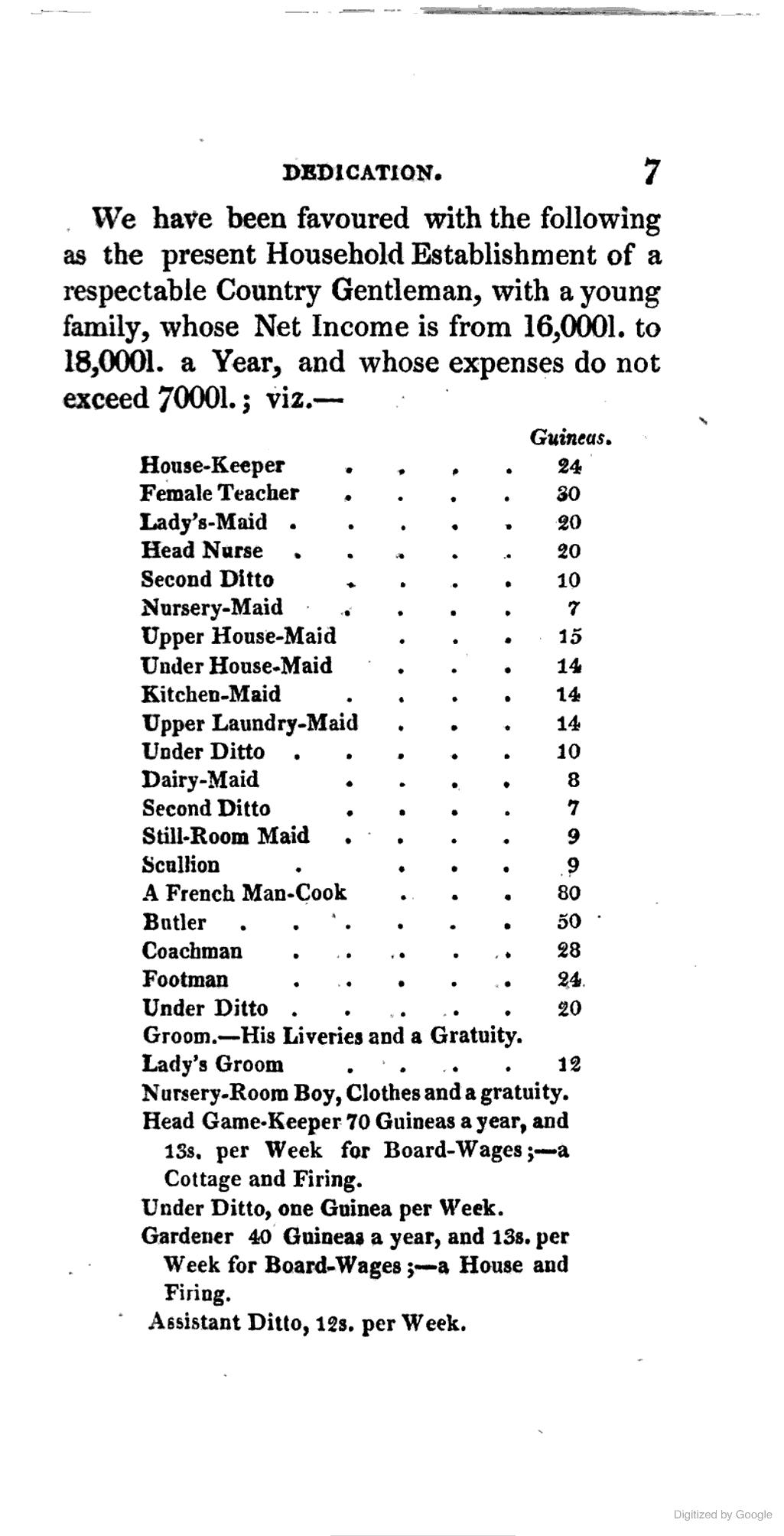 The Complete Servant Salary Of Servants In 1823 Servant