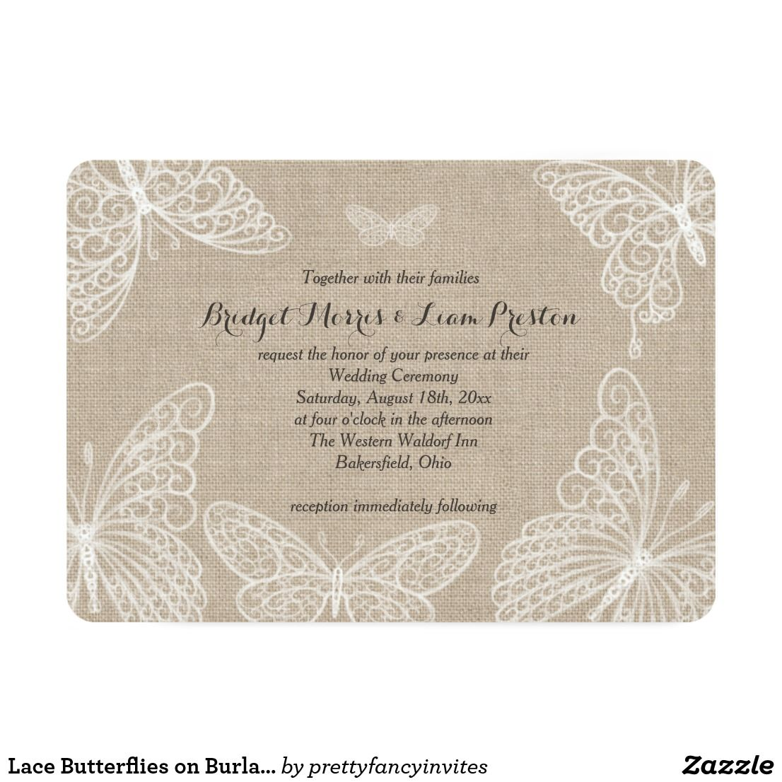 Lace Butterflies on Burlap Wedding Invitation | Country Wedding ...