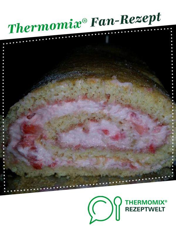 Biskuitrolle mit Erdbeerfüllung #beefbake