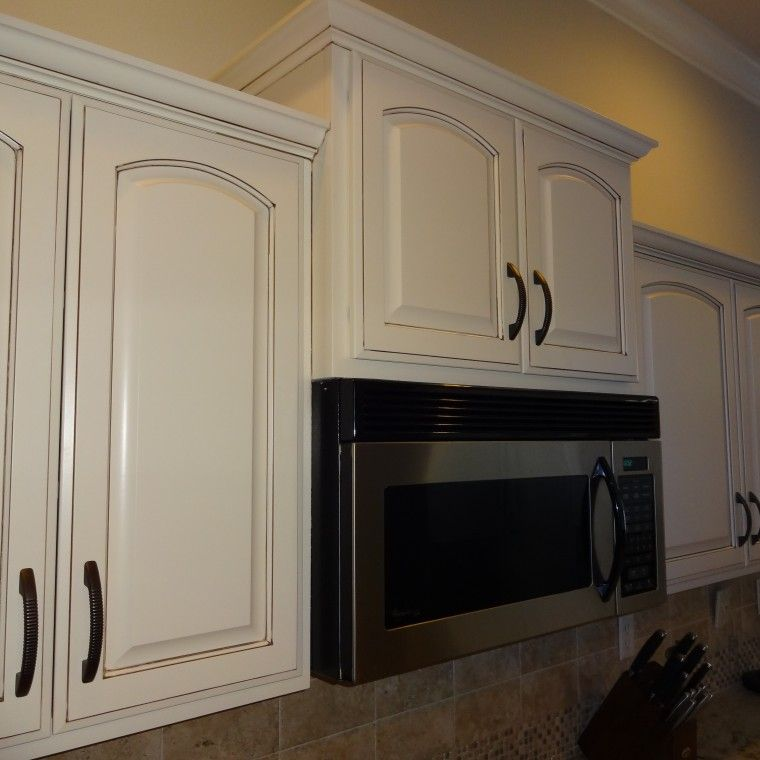 Refinished Kitchen Cabinets Dover White With Brown Glaze Cool