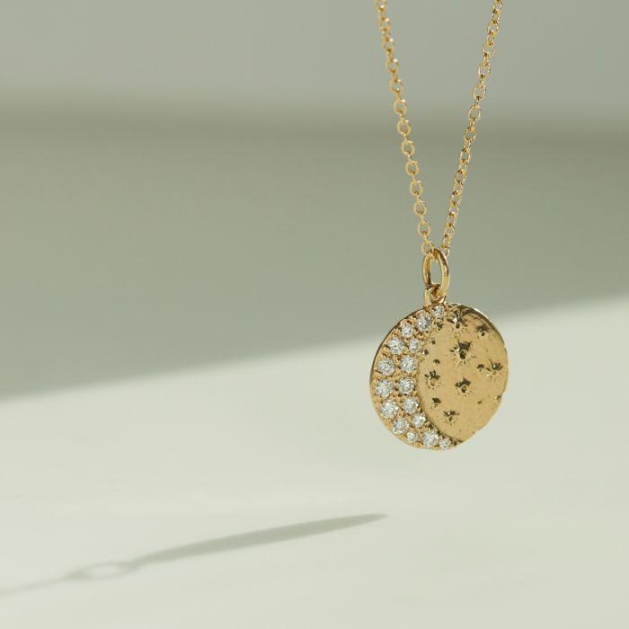 Waning Crescent Moon Necklace, Sofia Zakia Diamond cross