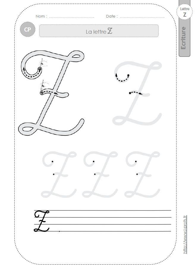 La lettre z majuscule au cp fiches d 39 ecriture mod les d 39 criture ecriture pinterest la - Z en majuscule ...
