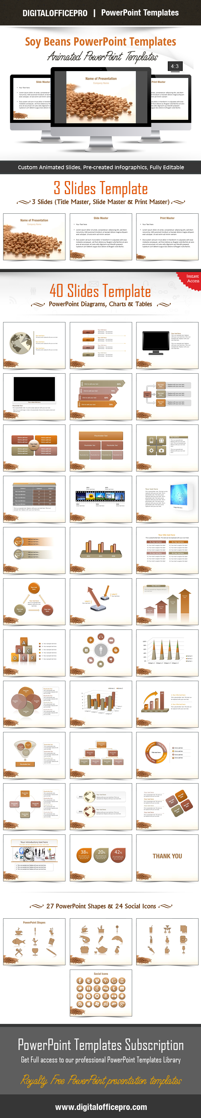 Impress and Engage your audience with Soy Beans PowerPoint Template and Soy Beans PowerPoint Backgrounds from DigitalOfficePro. Each template comes with a set of PowerPoint Diagrams, Charts & Shapes and are available for instant download.