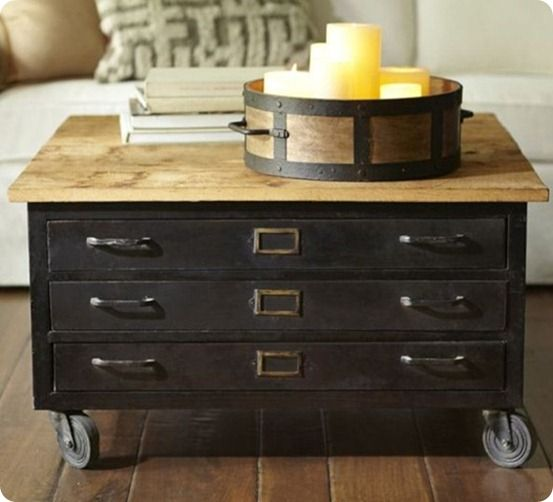 pottery barn library flat file coffee table | living room