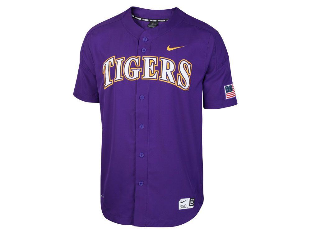 info for 11285 87b54 LSU Tigers Nike NCAA Men's Full Button Vapor Elite Baseball ...