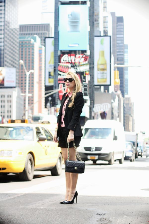 A Morning In Times Square by @Camilla Glamgerous wearing @ZARA blazer, @Romwe Lookbook Fashion Collection shirt, @Brandy Melville USA shorts, @Buffalo London Shoes, @ACCESSORIZE necklace, @Céline Paris sunnies, @CHANEL bag.
