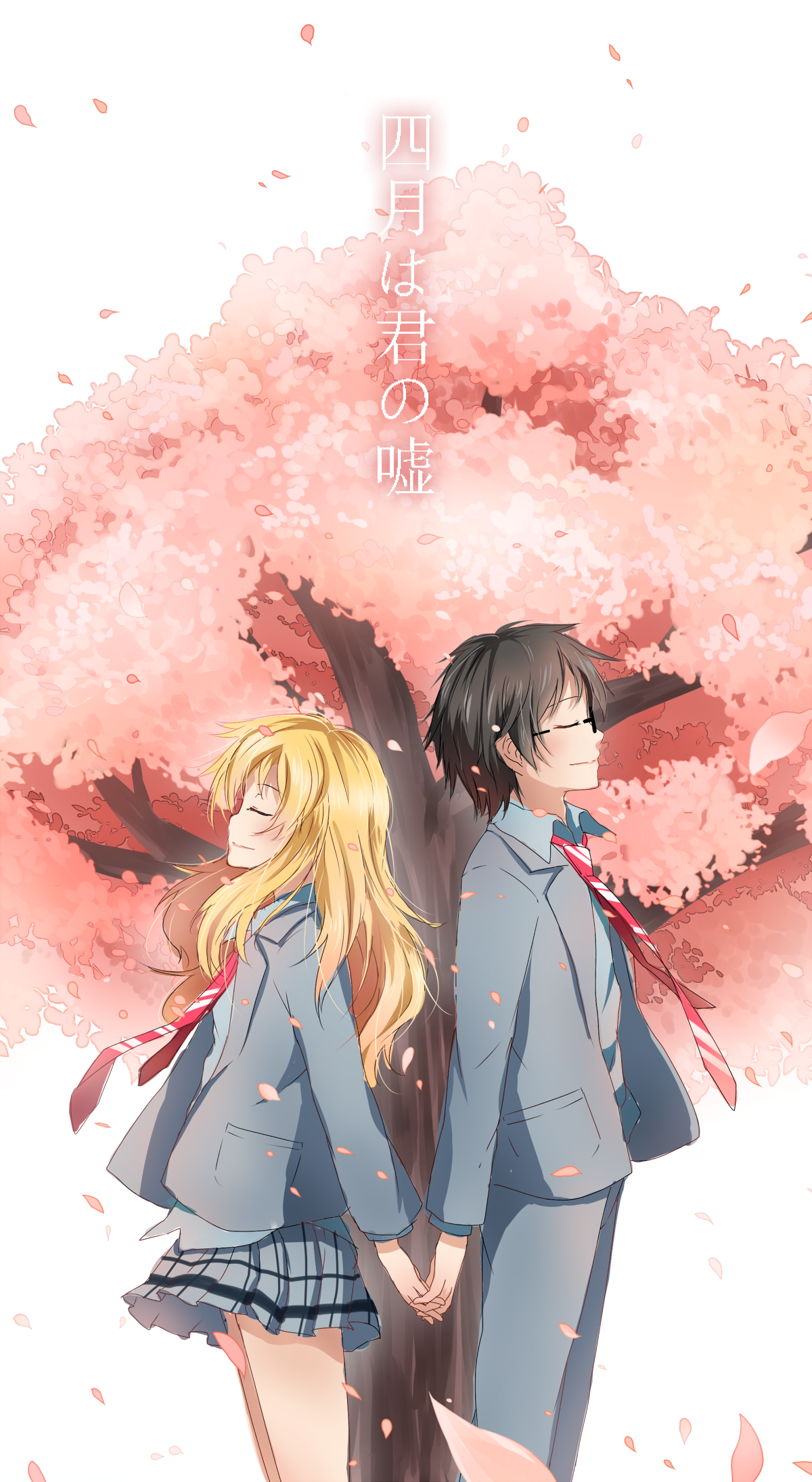 Under the cherry blossom | Kaori and Kousei | Your Lie In ...