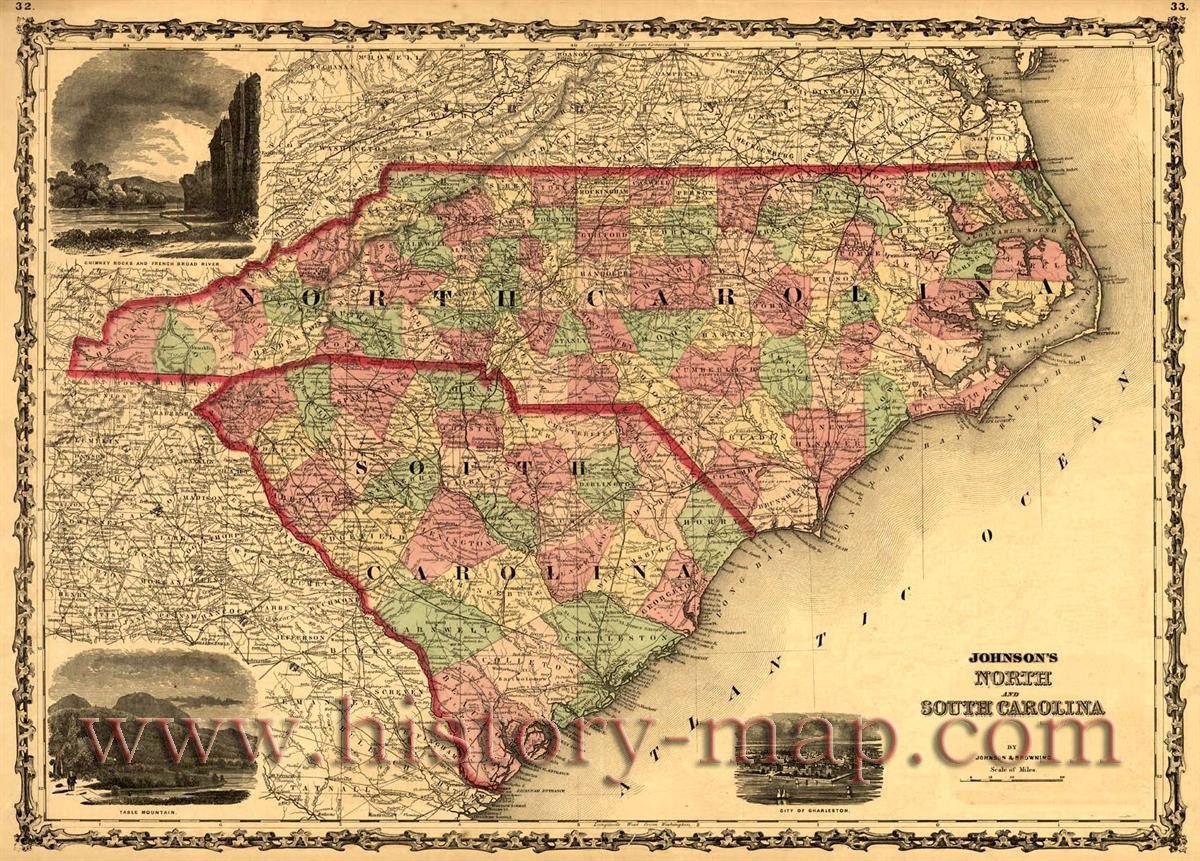 North and south carolina genealogy pinterest interesting 1861 color map of north carolina showing counties roads and railroads publicscrutiny Gallery