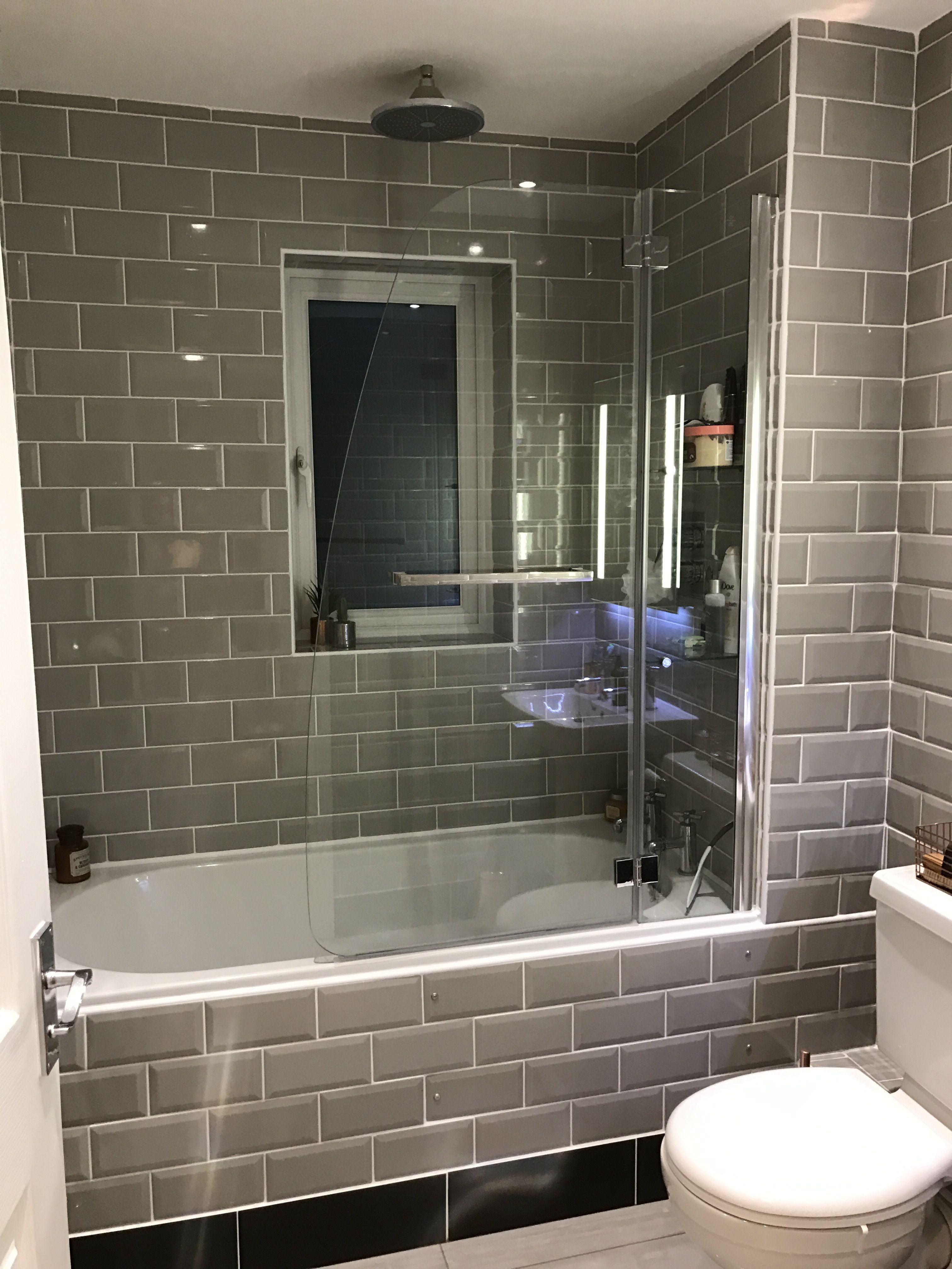 My New Bathroom Grey Subway Tiles Shower Screen From Victoria Plum Grey Subway Tiles Bathroom Shower Screen