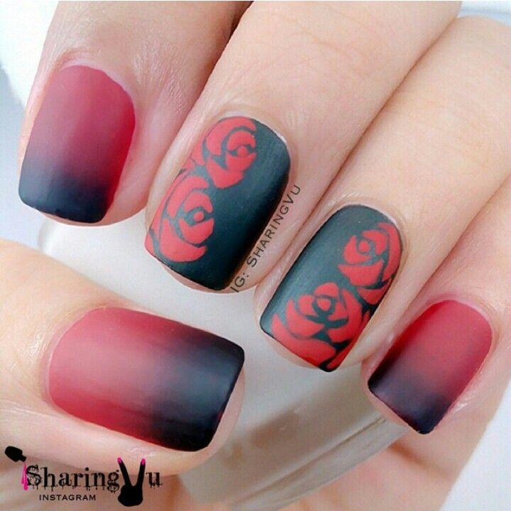 Matte gradient & roses nail art in Red & Black   nail art ...