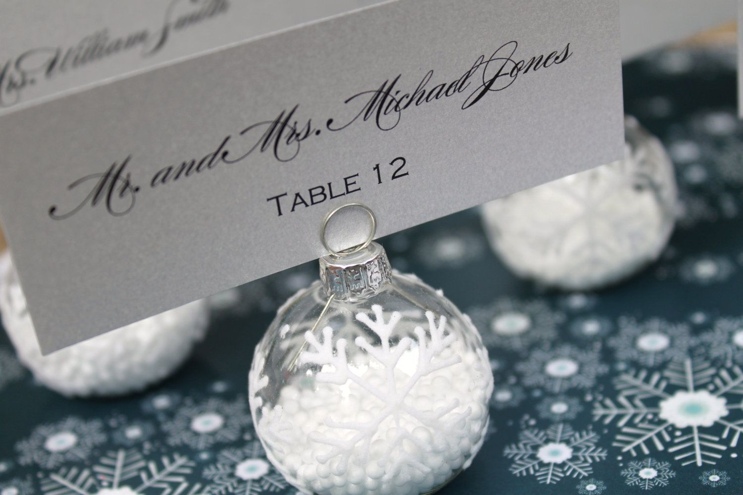 Winter Wedding Favor Snowflake Place Card Holders Flocked Glass