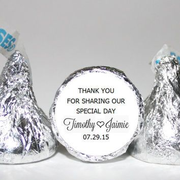 Personalized Hershey Kisses Stickers Labels Wedding Favor Chocolate