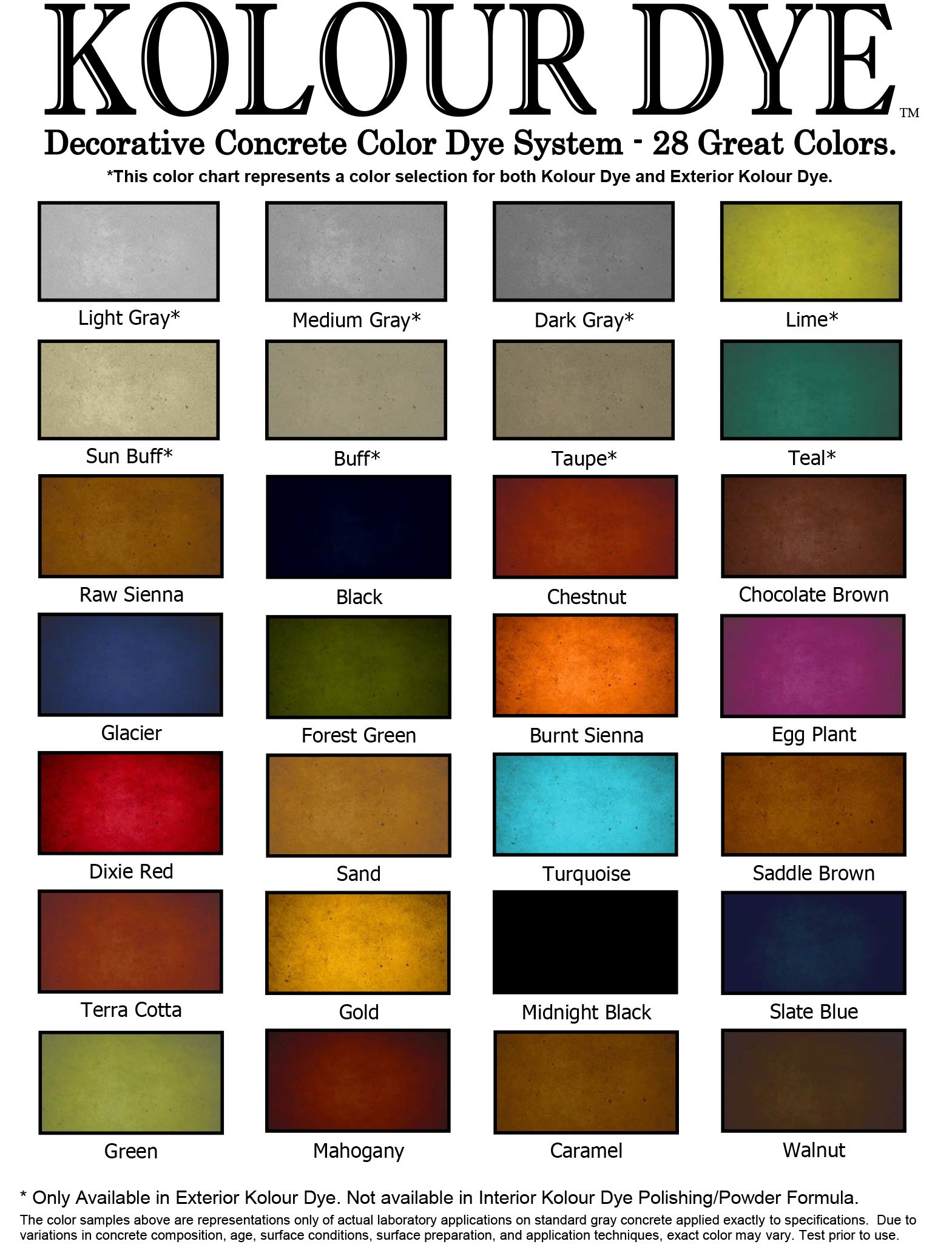 Color chart for interior and exterior dye for concrete Classic