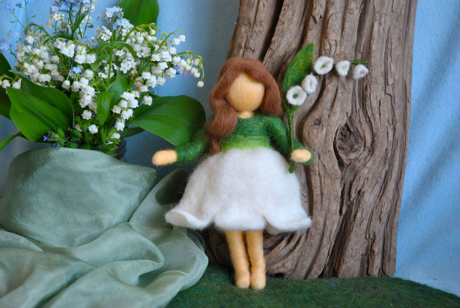 Lilly of the valley flower  fairy by MagicWool of Quebec, Canada.