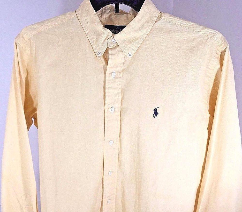 Yellow dress long sleeve  Ralph Lauren Polo MENS LONG SLEEVE DRESS SHIRT Size